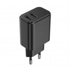 Мрежово зарядно устройство преходник адаптер Setty с 2 USB изхода 220V, 3A, Черен