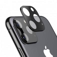 Стъклен протектор за задна камера 5D Full MBX за Apple iPhone 11 Pro, Pro Max с лайсна, Черен