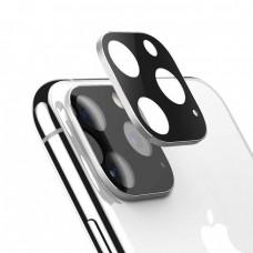 Стъклен протектор за задна камера 5D Full MBX за Apple iPhone 11 Pro, Pro Max с лайсна, Сребрист