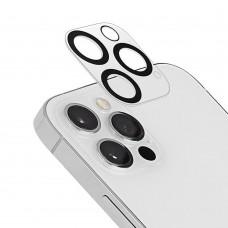 Стъклен протектор за задна камера 5D Full MBX за Apple iPhone 12 Pro Max (6.7) с черни рингове, Прозрачен