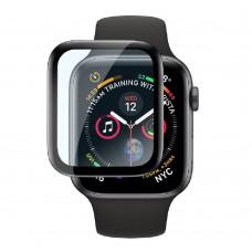 Удароустойчив протектор силиконов за часовник bSmart PET с черен кант за Apple iWatch 44mm, Прозрачен / Черен